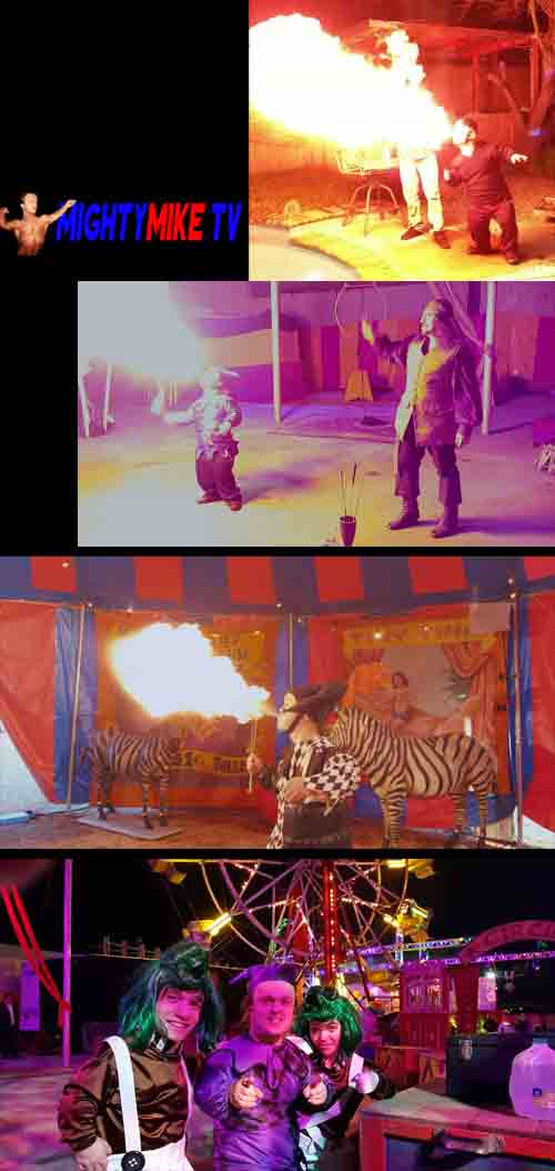 Party hire dwarf Mighty Mike, midget entertainment, little person performing fire shows talent volcanos at party hire events. Little people elfs and oompaloompas mini talent.